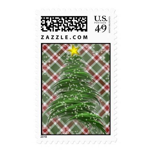 Christmas Tree on Plaid Postage Stamp