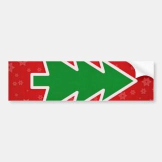 Christmas Tree on Red background Bumper Stickers