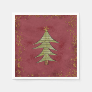 Christmas Tree on Red Background Paper Napkin at Zazzle