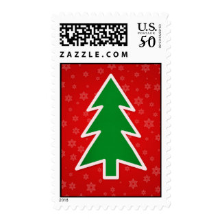 Christmas Tree on Red background Postage