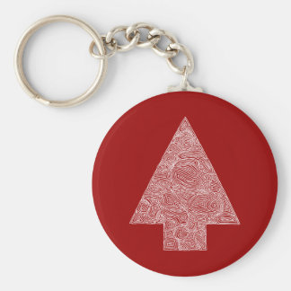 Christmas Tree on Red Basic Round Button Keychain