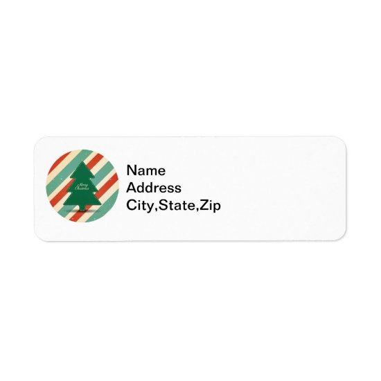 Christmas Tree on Red & Green Striped Background Label