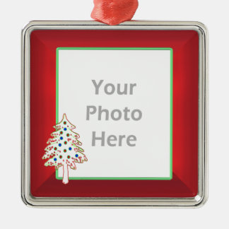 Christmas Tree on Red (photo frame) Metal Ornament