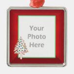 Christmas Tree on Red (photo frame) Square Metal Christmas Ornament