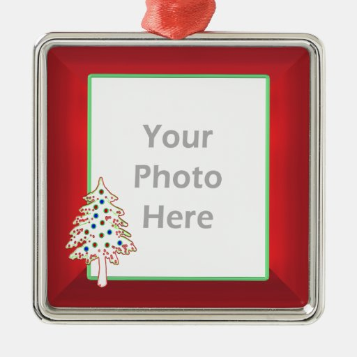 Christmas Tree Ornaments Picture Frames : Christmas tree on red photo frame square metal