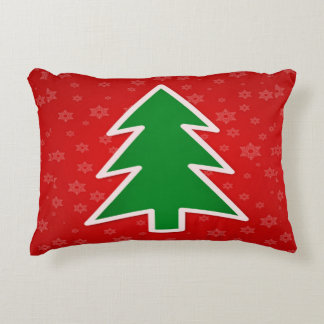 Christmas Tree on Red With Snowflakes Decorative Pillow