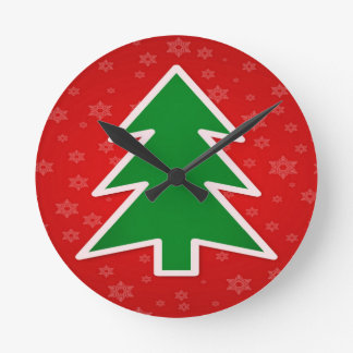 Christmas Tree on Red With Snowflakes Round Clock