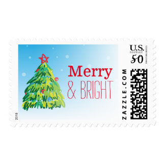 christmas tree on snowing background postage
