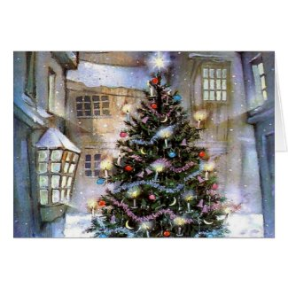 Brightly lit Christmas Tree in a snowy village square Christmas Card