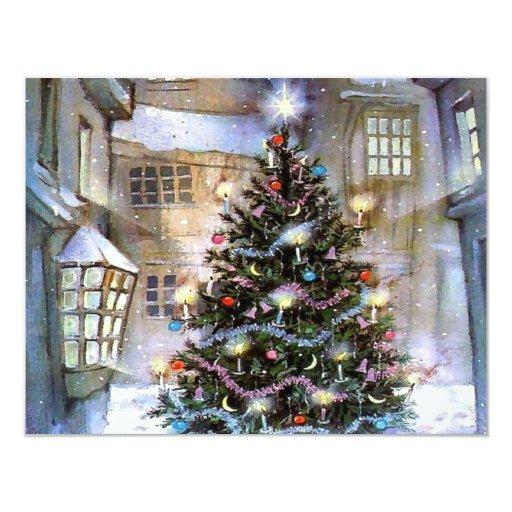 """Christmas tree on street 4.25"""" x 5.5"""" invitation card"""