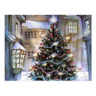 Christmas tree on street postcard