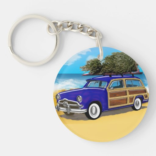 Christmas Tree on the Roof of a Blue Woodie Acrylic Key Chains