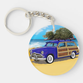 Christmas Tree on the Roof of a Blue Woodie Single-Sided Round Acrylic Keychain