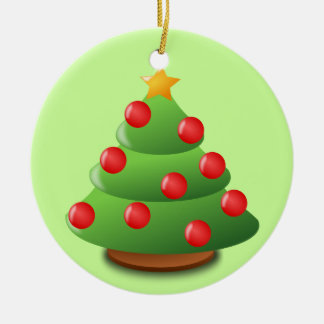 Christmas tree Double-Sided ceramic round christmas ornament