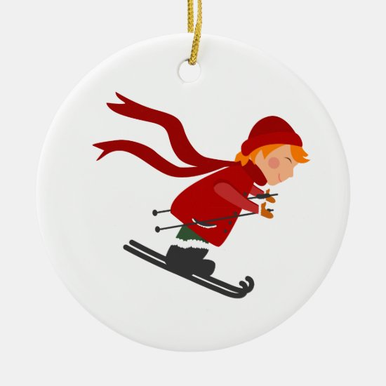 Christmas Tree Ornament - Child Skiing