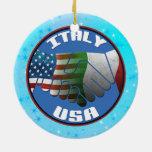 Christmas Tree Ornament Italy USA Flags