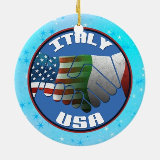Christmas Tree Ornament Italy USA Flags