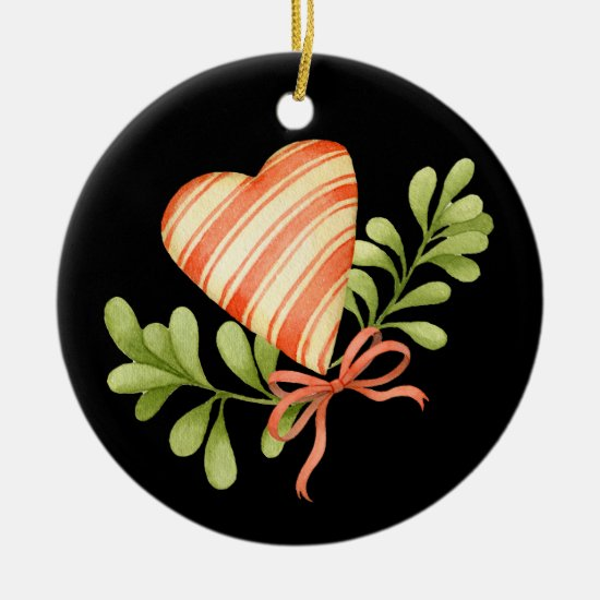 Christmas Tree Ornament - Mistletoe & Heart