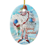Christmas Tree Ornament Oval Sheep Fleece Navidad