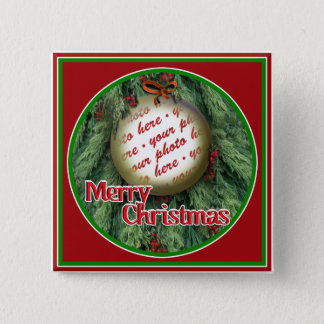 Christmas Tree Ornament Photo Frame Pinback Button