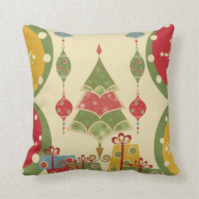Christmas Tree Ornaments Gifts Presents Holiday Throw Pillows