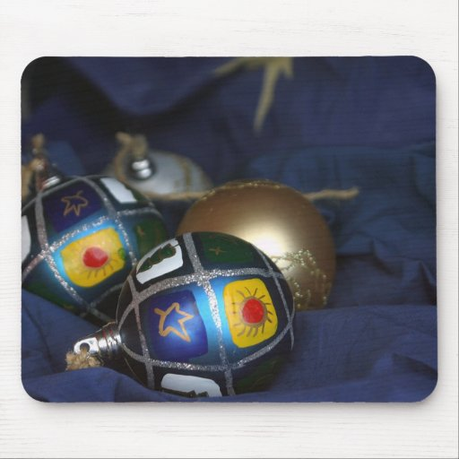 Christmas tree ornaments in blue mouse pads