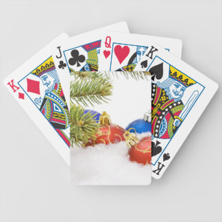 Christmas Tree Ornaments In Snow Bicycle Playing Cards
