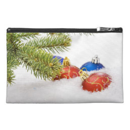 Christmas Tree Ornaments In Snow Travel Accessory Bag