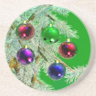 Christmas Tree Ornaments Shine on Green Drink Coasters