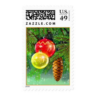 christmas tree ornaments stamp