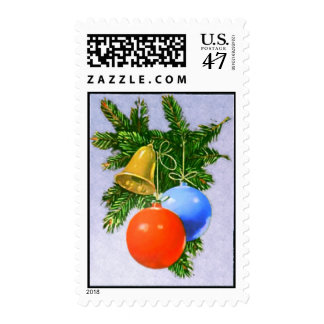 Christmas Tree  Ornaments with Golden Bell Stamps
