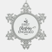 Christmas Tree Our First Christmas Engaged Snowflake Pewter Christmas Ornament