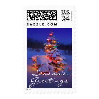 Christmas tree outdoors glowing at night postage