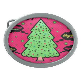Christmas Tree Oval Belt Buckle