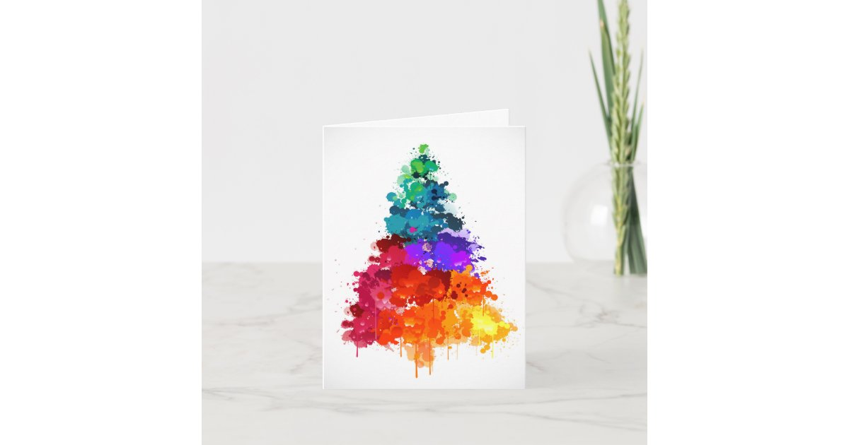 Christmas Tree, Paint, Primary Colors Holiday Card