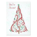 """Christmas Tree Party Invitation 5"""" X 7"""" Invitation Card"""