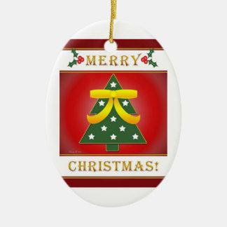 Christmas Tree Patriotic Round Christmas Ornament