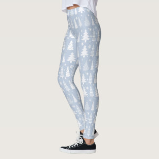 Christmas Tree Pattern Blue and White ID175 Leggings