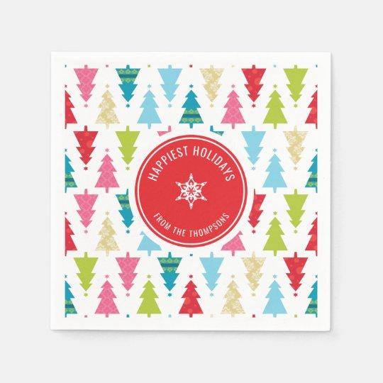 Christmas Tree Napkin Pattern: CHRISTMAS TREE PATTERN Festive Modern Minimal Paper Napkin