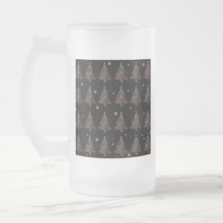 Christmas tree - pattern frosted glass beer mug