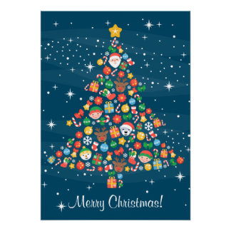 Christmas Tree Pattern on Starry Blue Poster