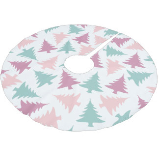 Christmas tree pattern pastel pink purple green brushed polyester tree skirt