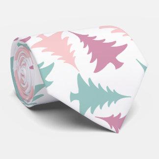 Christmas tree pattern pastel pink purple green neck tie