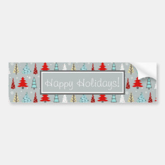 Christmas Tree Pattern Red and Blue ID175 Bumper Sticker