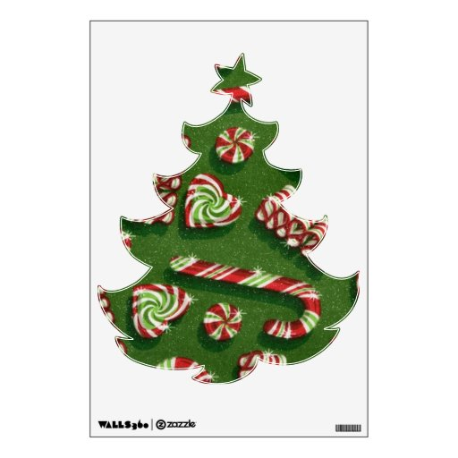 Christmas Tree Wall Sticker With Lights : Christmas Tree Pattern wall decal Zazzle