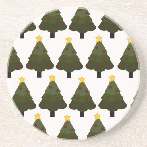 Christmas Tree Pattern Winter Holiday Gifts Drink Coaster