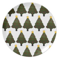 Christmas Tree Pattern Winter Holiday Gifts Dinner Plate