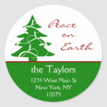 Christmas Tree Peace on Earth Address Labels Classic Round Sticker