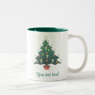 christmas tree - personalised Two-Tone coffee mug