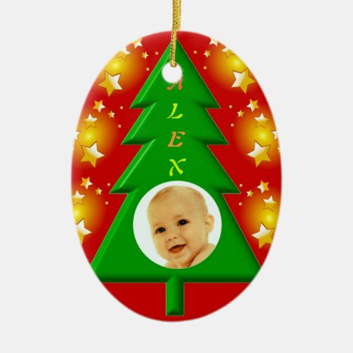Christmas Tree Ornaments Picture Frames : Christmas tree photo frame ornament zazzle